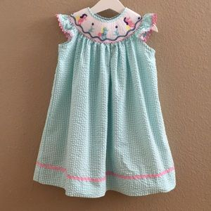 Smocked Dress for 3T Toddler, Seahorse Design